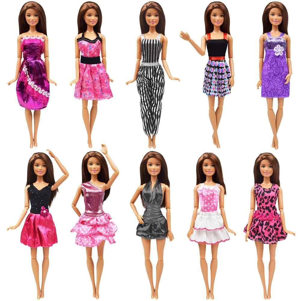 10 個プリンセス人形ファッション衣装手作り毎日 tシャツショーツ服バービー人形高貴なディナーパーティードレスのアクセサリー