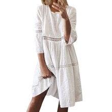Dress Women Ladies Casual Fashion Mid-Long-Dresses Crew Splice Vestidos Neck Boho Hollow-Out