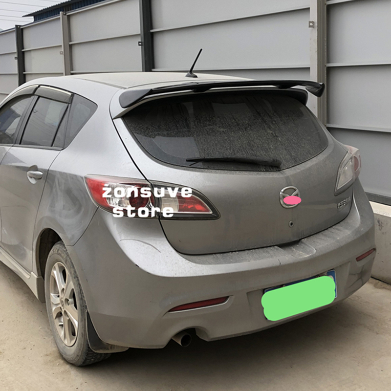 Use for mazda 3 hatchback spoiler 2006--2013 year real glossy carbon fiber rear wing sport accessories body kit