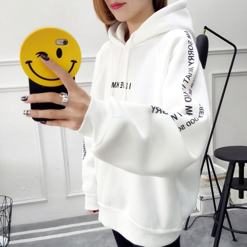 Autumn Winter Hoody Women Sweatshirt Letter Printed Thickened Loose Hooded Long Sleeve Warm Large Size Sweatshirts Female Coat