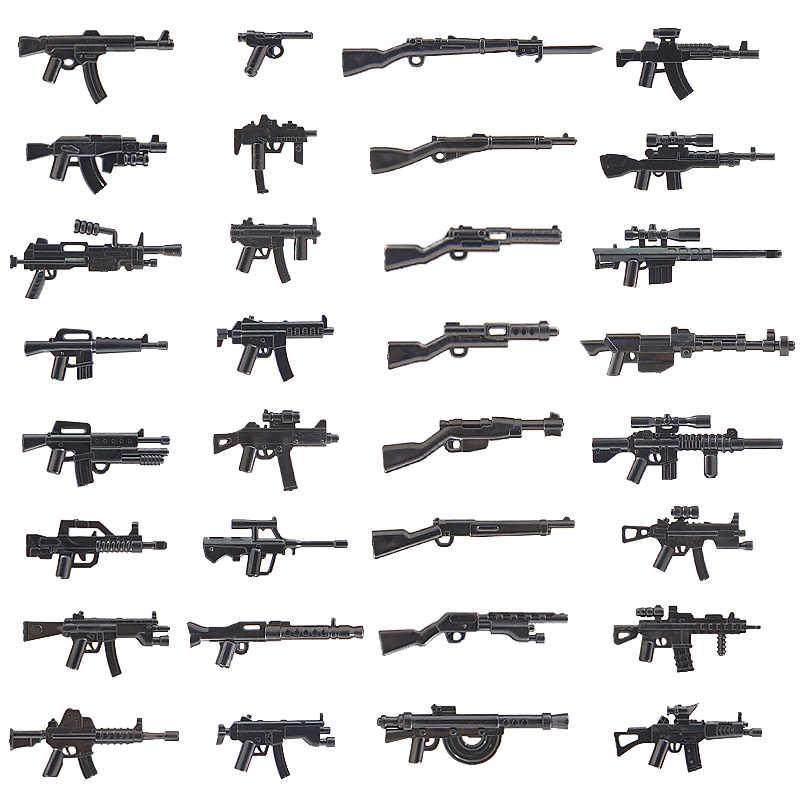 MOC Militär Waffen Gun Pack City Polizei Swat LegoING Armee WW2 Soldaten Ziegel Zubehör PUBG Bausteine Teile Kinder Spielzeug