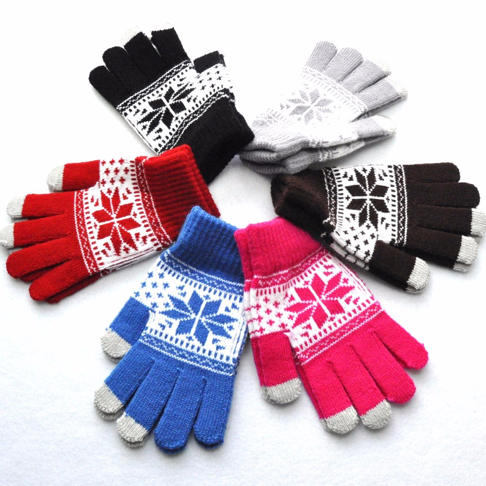 Women Men Unisex Winter Touch Screen Knitted Full Fingered Gloves Thicken Mittens Wrist Warmer  103#3