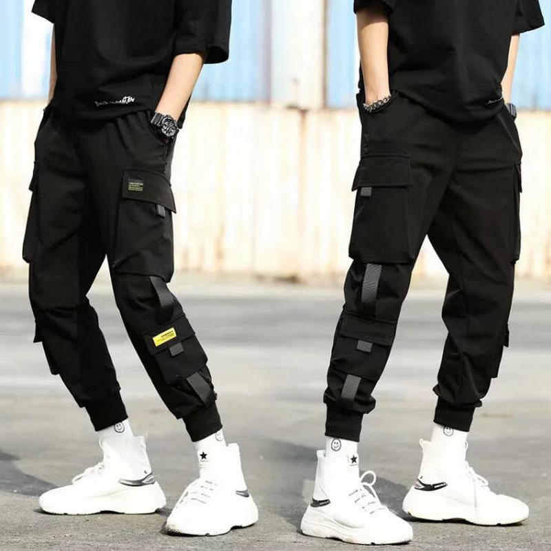 2020 Autumn New Hip Hop Joggers Men Black Harem Pants Multi-pocket Ribbons Man Sweatpants Streetwear Casual Mens Pants XS-3XL