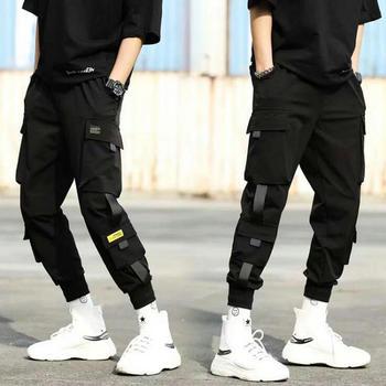 2020 Autumn New Hip Hop Joggers Men Black Harem Pants Multi-pocket Ribbons Man Sweatpants Streetwear Casual Mens Pants XS-3XL