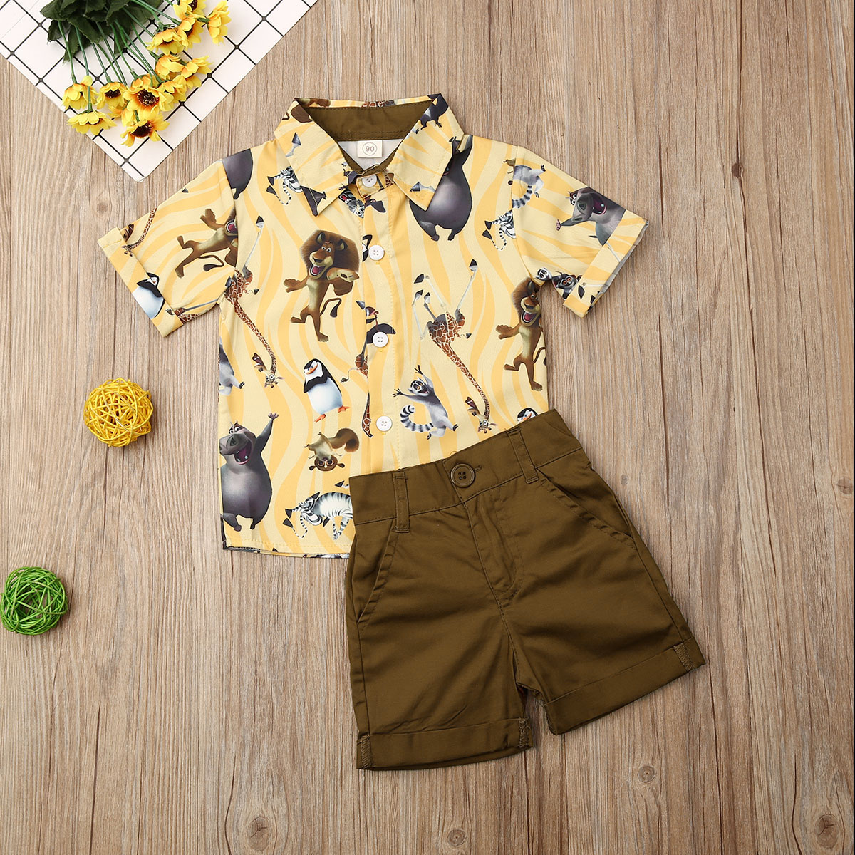 Pudcoco Summer Toddler Baby Boy Clothes Cute Animals Print Short Sleeve Shirt Tops Short Pants 2Pcs Outfits Formal Clothes