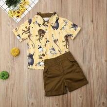 Pudcoco летняя одежда для маленьких мальчиков милая рубашка