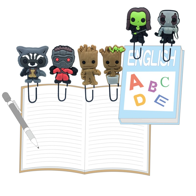 25pcs Superheroes Bookmarks For Books Groot Rocket Raccoon Paper Clips For Students Teacher Book Marks Page Holder Kids Gift