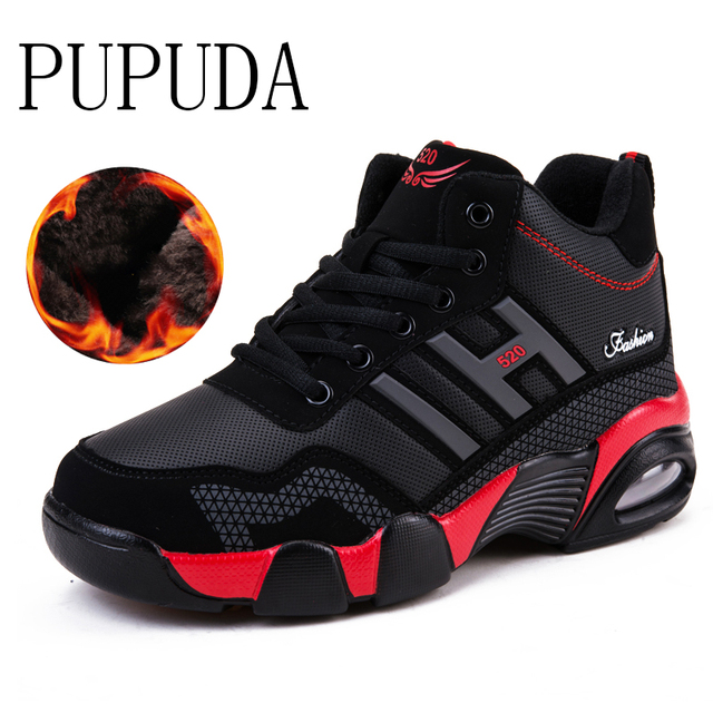 PUPUDA Men Sneakers Winter Shoes Men High Top Basketball shoes Autumn Sport Running Cotton Sneakers Good Quality Snow Boots Men