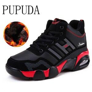 Image 1 - PUPUDA الرجال أحذية رياضية الشتاء أحذية الرجال عالية أعلى حذاء كرة السلة الخريف الرياضة تشغيل القطن أحذية رياضية نوعية جيدة الثلوج أحذية الرجال