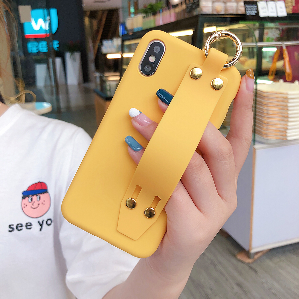 For iPhone 11 Pro Max X XR XS Max Candy Color Wrist Strap Holder Soft Silicone Case For iPhone 8 7 6 6s Plus 11 SE 2020 SE2 Case(China)