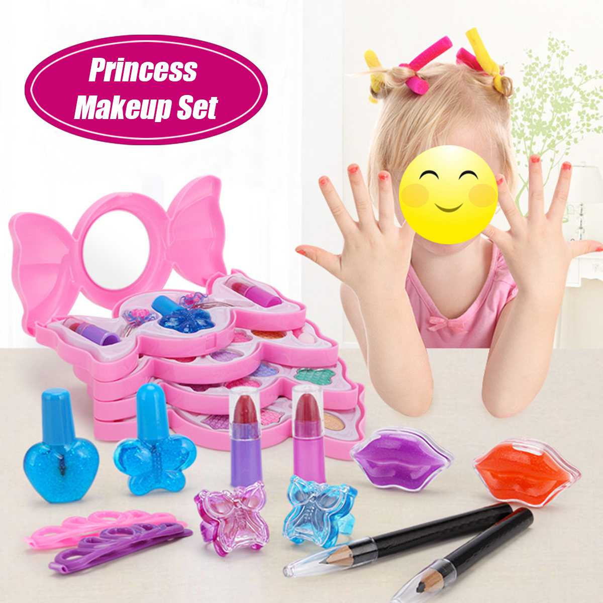 3/4/5 Layers Washable Princess Makeup Set For Girls Cosmetic Toys Kit Eyeshadow Lip Gloss Blushes Face Makeup Party Dressing