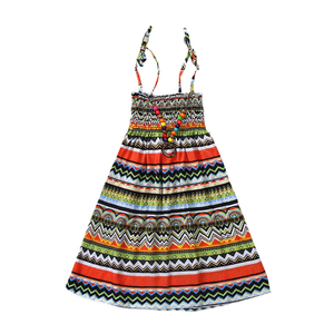 Summer Girls Dresses Bohemian Beach Floral Teen Princess Print Dress For Baby Girls 3-12Yrs Kids Clothing With Vintage Necklace(China)