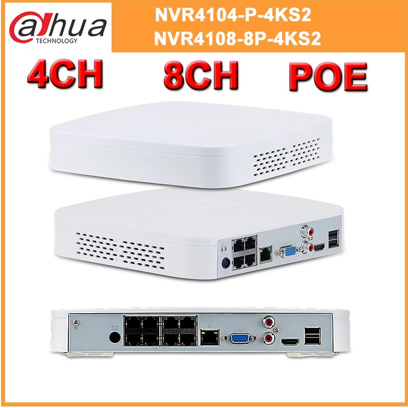 Dahua 4K POE NVR NVR4104-P-4KS2 NVR4108-8P-4KS2 With 4/8ch PoE H.265 Video Recorder Support ONVIF 2.4 SDK CGI