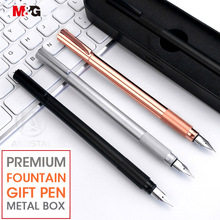 M&G elegant Metal Fountain Pen set with Metal Gift Box 0.38mm Rose Gold for office school stationery luxury fine ink pens