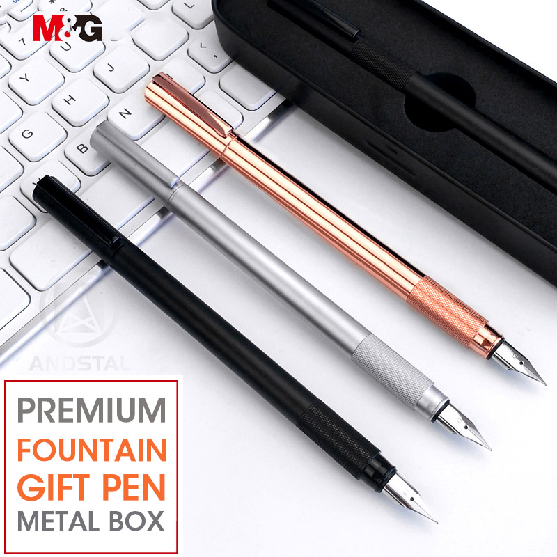 M&G Elegant Metal Fountain Pen With Metal Gift Box 0.38mm Rose Gold For Office School Supplies Stationery Luxury Fine Ink Pens