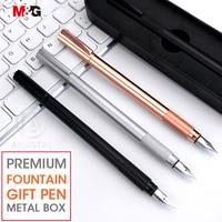 M & g elegante metal caneta fonte com caixa de presente do metal 0.38mm rosa ouro para escritório material escolar papelaria luxo tinta fina canetas|Canetas tinteiro| |  -