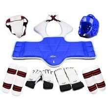 Taekwondo glvoes karate colete protetor corpo sparring engrenagem adulto crianças braço shin guarda no peito capacete mma conjunto de treinamento equipamentos