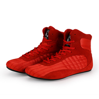 Professional leather Men wrestling shoes Gym Shoes Weight Lifting High Top Boots gear Bodybuilding MMA Boxing equipment RED BLK