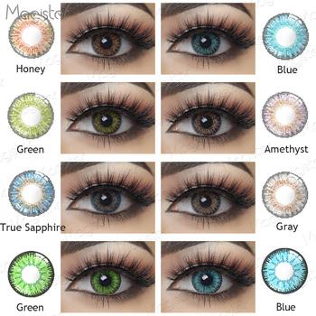 3 Tone kolorowe szkła oczy 1 para roczne kolorowe soczewki kontaktowe dla oczu piękno Pupilentes soczewki kontaktowe kosmetyczne kolorowe szkła oczy tanie i dobre opinie Magister CN (pochodzenie) 14 5mm Dwa kawałki 0 06-0 15 mm PHEMA Piękna źrenica Magister Color Lens Eyes 3 Tone Color Contact Lenses For Eyes