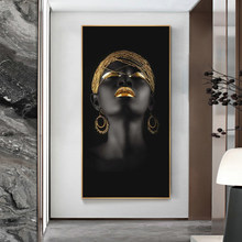 African Nude Girl with Golden Headdress Canvas Paintings Black Women Posters and Prints Wall Pictures for Living Room Home Decor