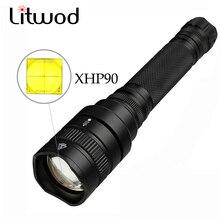 Lanterne tactique de chasse et de camping XHP90, étanche, puissante, zoom lampe de poche led, 5 Modes déclairage, batterie 18650