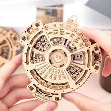 Assembled-Toy Wooden Perpetual-Calendar Mechanical-Gear