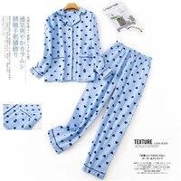 Piżamy damskie 100% bawełna 2 kawałek piżamy dla dzieci z długim rękawem spodnie bielizna nocna jesień zima piżama kobiet druku kreskówki odzież domowa|Zestawy piżam|   -
