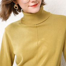 LHZSYY 2019Autumn Winter New Women Knitted Turtleneck Sweater Solid Color Loose Bottoming shirt Soft Wild blouse Knit Pullovers