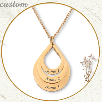 Personalized Family Necklaces Customized Engraved 3 Names Water Drop Pendant stainless steel Necklace Jewelry Gift for Mom 1