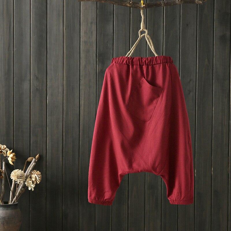 Pantalones holgados para mujeres de verano 2019 de lino de algodón de Color sólido de la entrepierna - 2