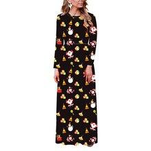 Echoine Ladies maxi dresses Christmas Floral Print Long Sleeve Dress Women Round Neck Autumn Winter Large Size female