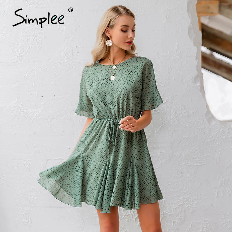 Simplee Leopard Print Women Dress Casual O Neck Ruffled Sash Chiffon Summer Dress Streetwear Holiday Ladies Chic Mini Dress 2020