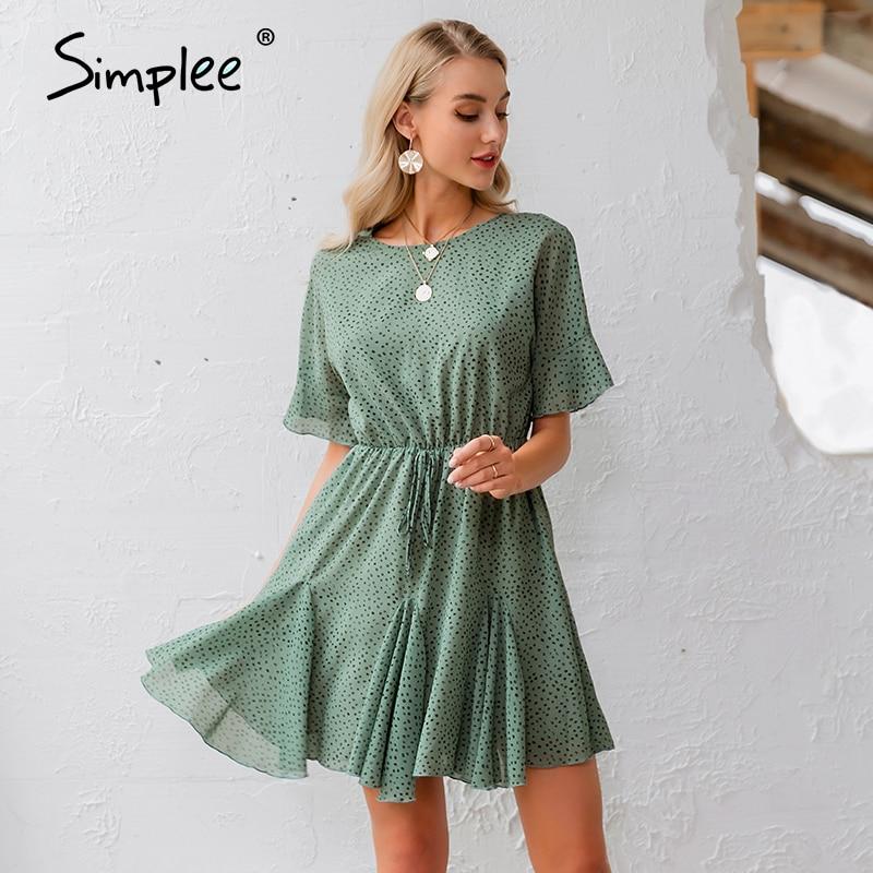 Simplee Leopard Print Women Dress Casual O Neck Ruffled Sash Chiffon Summer Dress Streetwear Holiday Ladies Chic Mini Dress 2020