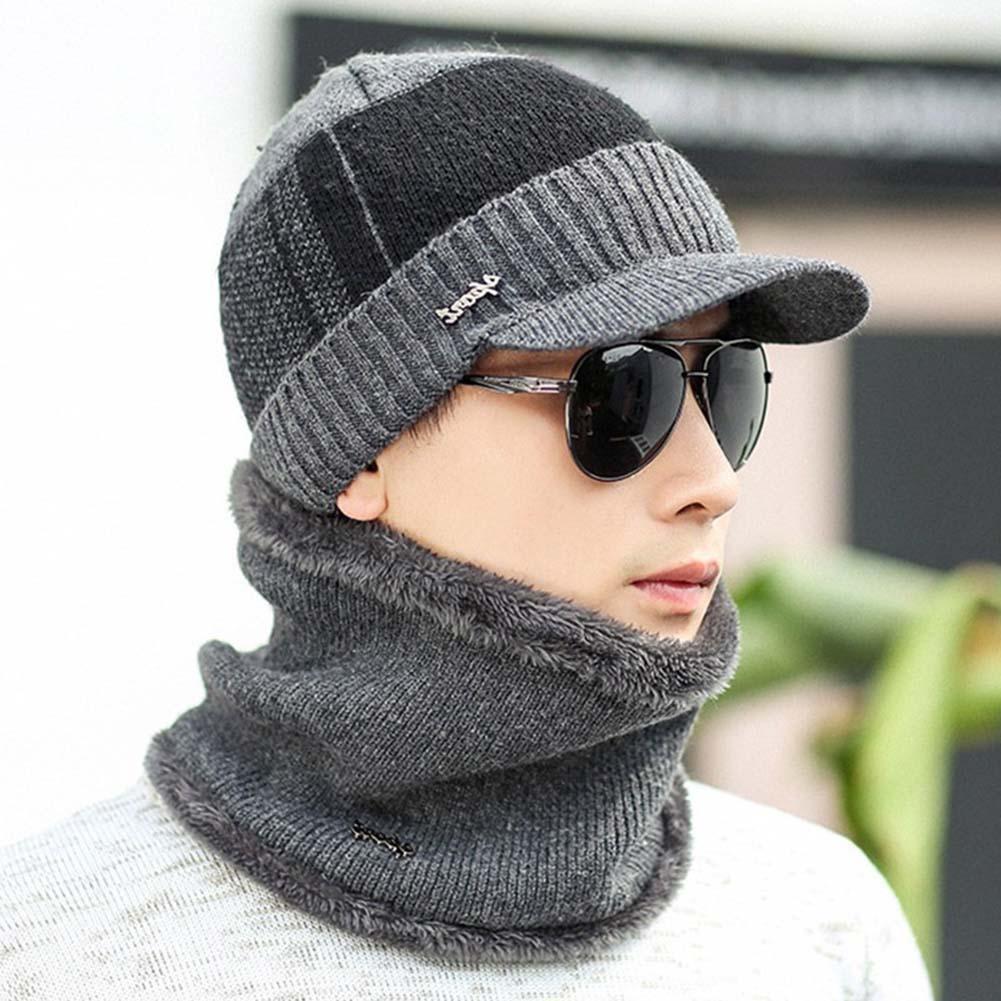 2Pcs/Set Fashion Men Winter Lined Warm Knitted Visor Beanie Hat Brim Cap Scarf