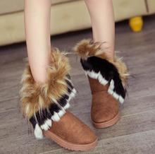 New designer warm casual women snow boots in the imitation fox fur flat cotton shoes tassel boots sneakers ankle boots for women camel european winter thermal women s snow boots fur tassel warm boots