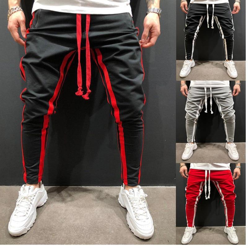 Men's Solid Casual Pants Brand Fitness Casual Elastic Pencil Pants Bodybuilding Clothing Stripe Sweatpants joggers Pants