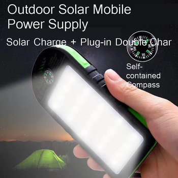 Vogek 10000mAh Solar Power Bank Waterproof Outdoor Charger 2 USB Ports External Charger Powerbank with Lamp 1