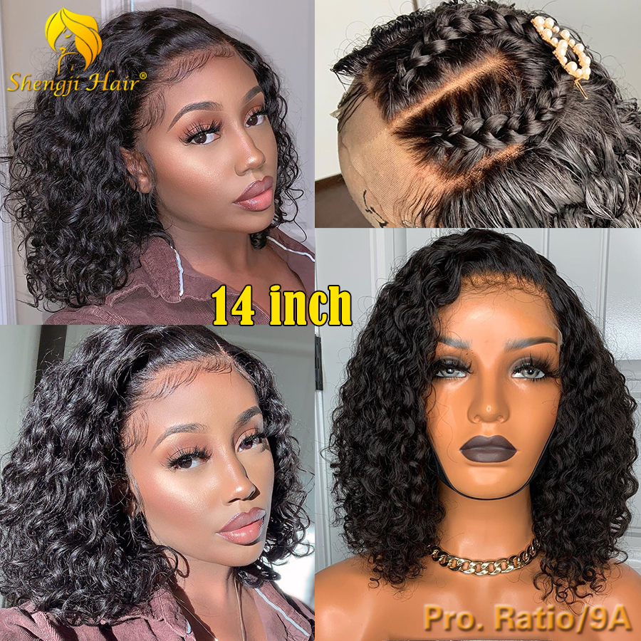 """Short Bob Full Lace Human Hair Wigs For Black Women Medium Length Brazilian Remy Culry Lace Front Wig 4.5"""" 360 Lace Frontal Wig"""