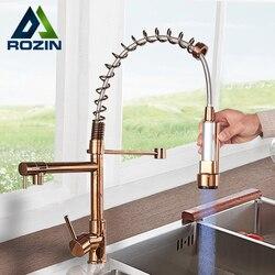 Rozin robinet de cuisine en or Rose | Robinet de cuisine à ressort coulissant, robinets de cuisine à double bec pivotant, grue robinets mélangeurs d'eau chaude et froide