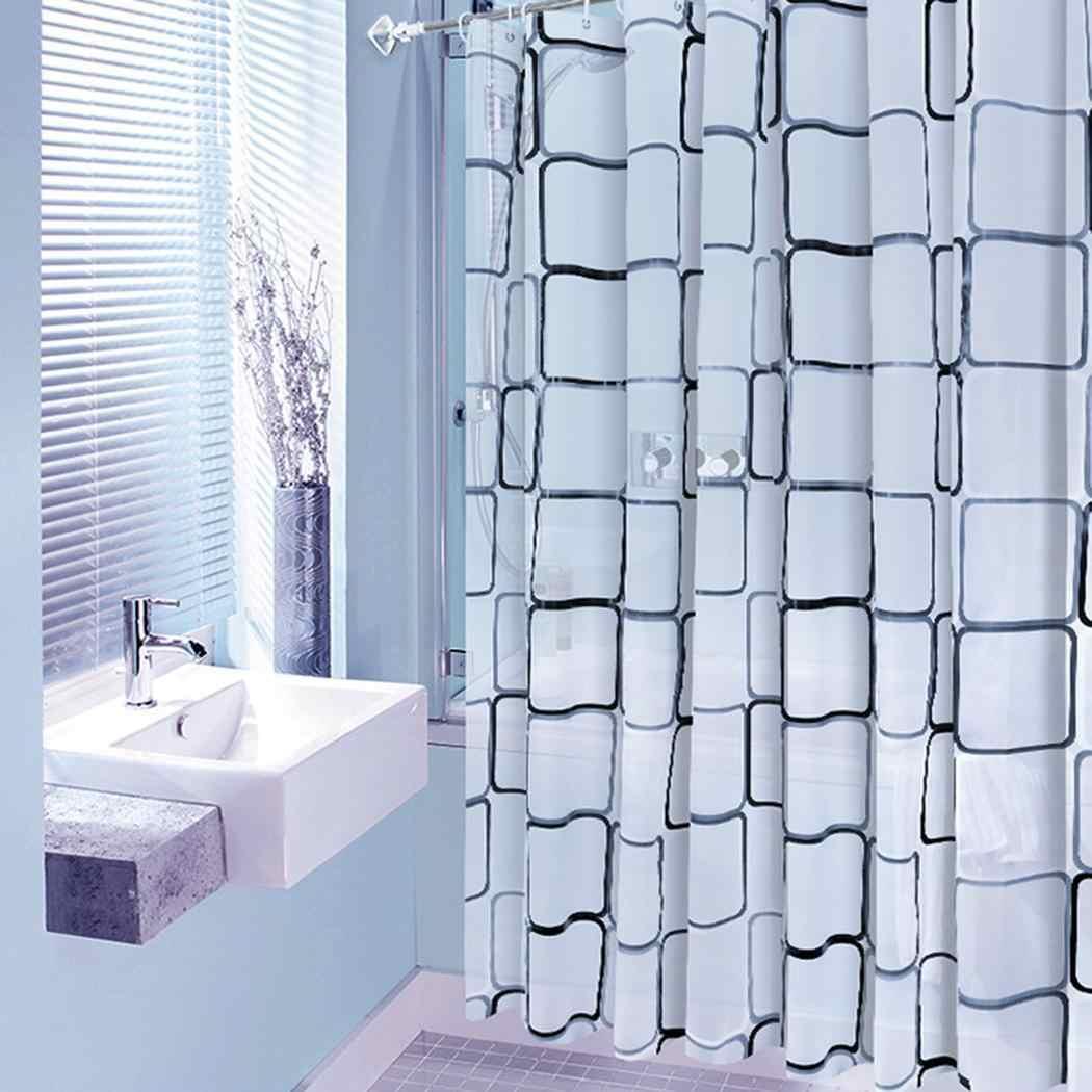 防水浴室チェック柄のシャワーカーテン家の装飾黒、白浴室のシャワーカーテンホックの分周器