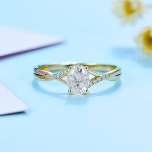 Женское кольцо с муасанитом kuolit, однотонное золотистое кольцо с овальным покрытием 10 к, 1 карат, вечерние Обручальные кольца