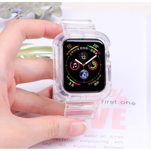 Case+Strap For Apple Watch Band 42mm 38mm Accessories Soft Silicone Transparent Bracelet iWatch band series 5 4 3 6 SE 44mm 40mm
