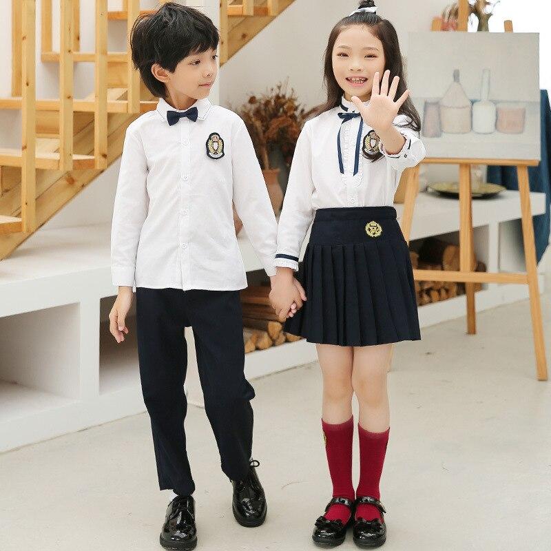 Kindergarten Suit Autumn New Style School Uniform Long-sleeve Blouse Pleated Skirt Set Young STUDENT'S Business Attire