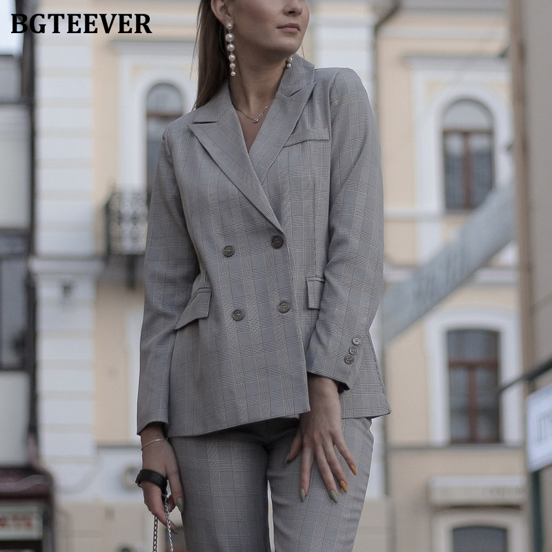 BGTEEVER Vintage Plaid Women Pant Suit Double-breasted Jacket & Pencil Pant Female Blazer Suit Set Retro Women Trouser Suit 2019
