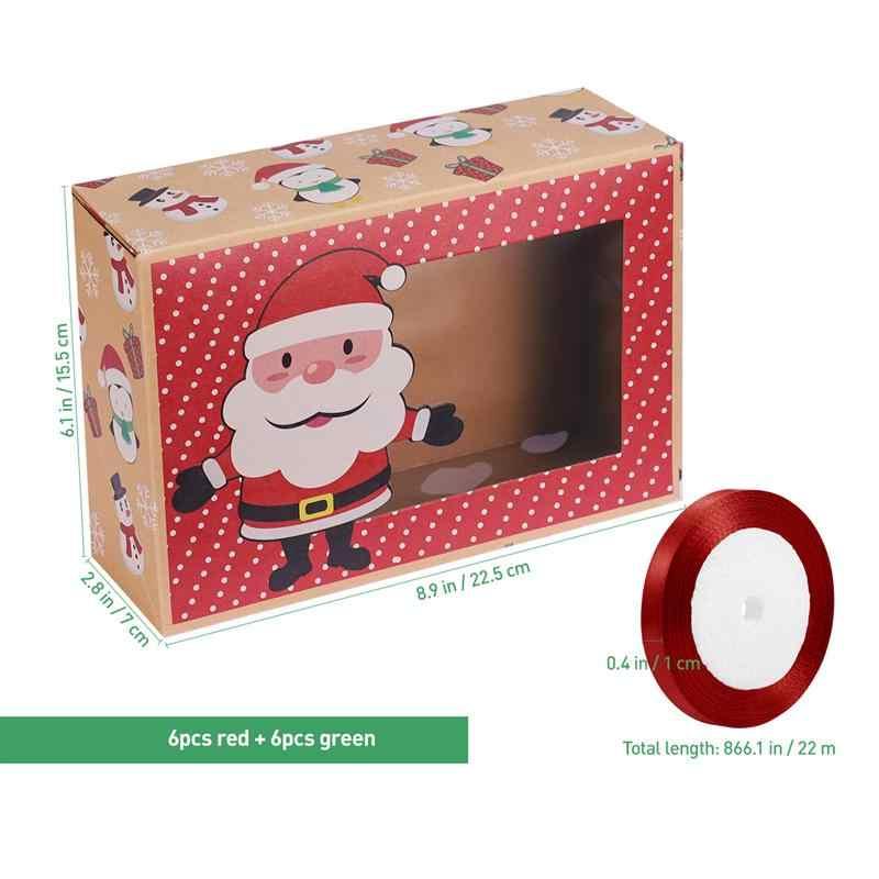 Hemoton 12PCS Christmas Cookie กล่องแบบพกพาขนมเบเกอรี่คัพเค้กมัฟฟินกล่อง PARTY Favor ผู้ถือม้วนริบบิ้น