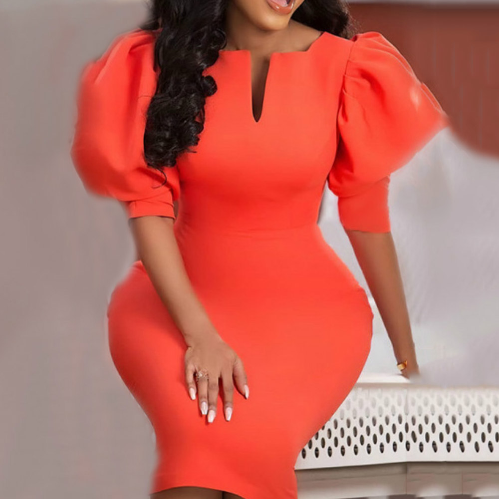 Vinatge Orange Women Party Dress Elegant 2020 Summer Mid-Calf Puff Sleeve V-neck Bodycon Dresses Robe Femme Vestidos