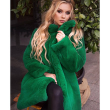 2021 Faux Fur Natural Mink Fur Coat Women's Winter Jacket New Fashion Overcoat Female High Quality Long Solid Warm Thick Luxury