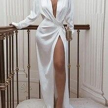 FQLWL Сплит элегантное сексуальное Атласное Платье женское Бандажное белое черное платье макси с длинным рукавом дамские свободные Клубные платья знаменитостей для вечеринок