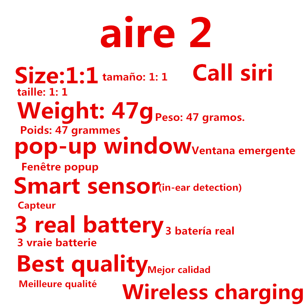New Aire2 Clone Bluetooth Earphones W1 Chip Original Pop Up Windows Earbuds Wireless Headset For IPhone Earphone 2 Generation