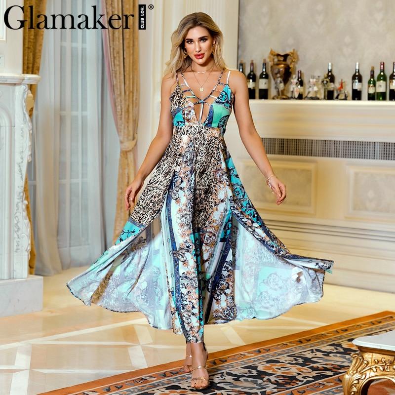 Glamaker Leopard Print Retro Maxi Dress Women Sleeveless Party Club Holiday Dress Sexy Vintage High Split V Neck Long Dvestidos